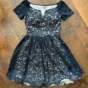 Chi Chi London fully lined black lace dress